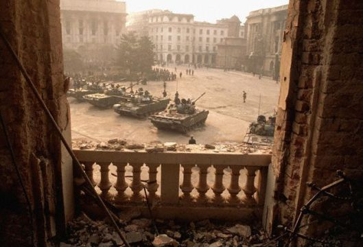 Balcony View of Tanks in Palace Square